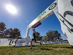 finish line at 2015 Lobsterman Triathlon, Winslow State Park, Freeport, Maine, USA