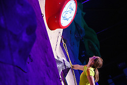 Katja Vidmar during her sisters retirement of one of the best Slovenian women climbers Maja Vidmar, Sport hall Poden, Skofja Loka, Slovenija, on April 3, 2016 in Skofja Loka, Slovenia. Photo by Grega Valancic / Sportida