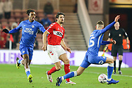 Middlesbrough defender George Friend (3) plays the ball past Peterborough United midfielder Joe Ward (15) during The FA Cup 3rd round match between Middlesbrough and Peterborough United at the Riverside Stadium, Middlesbrough, England on 5 January 2019.