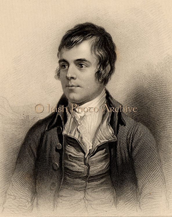 Robert Burns (1759-1795) Scottish poet born at Alloway, near Ayr. Burns died of Rheumatic endocarditis. Engraving from 'A Biographical Dictionary of Eminent Scotsmen' by Thomas Thomson (1870).