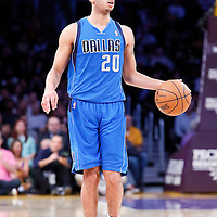 04 April 2014: Dallas Mavericks guard Devin Harris (20) brings the ball up court during the Dallas Mavericks 107-95 victory over the Los Angeles Lakers at the Staples Center, Los Angeles, California, USA.
