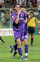 Firenze 19/08/06<br /> Coppa Italia Fiorentina-Giarre 3-0<br /> L'esultanza di Gianpaolo Pazzini dopo il gol del 2-0 abbracciato alle spalle da Adrian Mutu<br /> Foto Luca Pagliaricci Inside