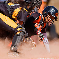 030113       Cable Hoover<br /> <br /> Gallup Bengal Danitsa Zavala (2) slides past St. Pius Spartan Krysta Lucero (14) to score Saturday at Gallup High School.