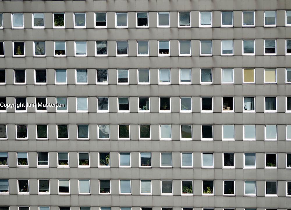Detail of many windows in office block in Hamburg Germany