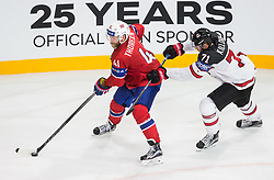 Patrick Thoresen of Norway vs Alex Killorn of Canada during the 2017 IIHF Men's World Championship group B Ice hockey match between National Teams of Canada and Norway, on May 15, 2017 in AccorHotels Arena in Paris, France. Photo by Vid Ponikvar / Sportida