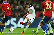 Son Heung-Min of Tottenham Hotspur taking a shot at goal. UEFA Champions league match, group E, Tottenham Hotspur v CSKA Moscow at Wembley Stadium in London on Wednesday 7th December 2016.<br /> pic by John Patrick Fletcher, Andrew Orchard sports photography.