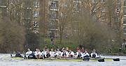 Putney - Chiswick, London,  Great Britain.<br /> Both crews approach, Harrods Deposity, during the <br /> 2016 University Boat Race, Oxford vs Cambridge, Putney. Putney  to Mortlake, Championship Course. River Thames.<br /> <br /> Sunday  27/03/2016 <br /> <br /> [Mandatory Credit; Peter SPURRIER/Intersport-images]
