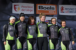 Cylance Pro Cycling are presented to the crowds in Bastogne Liege-Bastogne-Liege Femmes - a 135.5 km road race between Bastogne and Ans on April 23 2017 in Liège, Belgium.