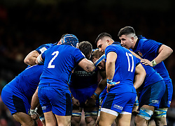 Luca Bigi of Italy gives a team talk<br /> <br /> Photographer Simon King/Replay Images<br /> <br /> Six Nations Round 1 - Wales v Italy - Saturday 1st February 2020 - Principality Stadium - Cardiff<br /> <br /> World Copyright © Replay Images . All rights reserved. info@replayimages.co.uk - http://replayimages.co.uk