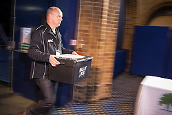 © Licensed to London News Pictures . 05/06/2014 . Newark , Nottinghamshire , UK . The first ballot box arrives . The count for the Newark by-election at Kelham Hall , Newark , this evening (Thursday 5th June 2014) . Photo credit : Joel Goodman/LNP