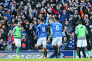 Ryan Jack (#8) of Rangers FC celebrates his goal with Connor Goldson (#6) of Rangers FC during the Ladbrokes Scottish Premiership match between Rangers and Celtic at Ibrox, Glasgow, Scotland on 29 December 2018.