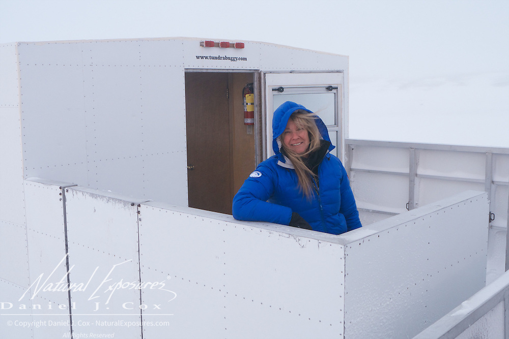Joanne Simerson, friend of PBI and San Diego polar beat expert comes in from a day of polar bear viewing at Cape Churchill, Hudson Bay, Manitoba.