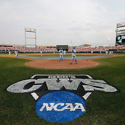 Jun 25, 2013; Omaha, NE, USA; General view of TD Ameritrade Park as UCLA Bruins takes infield drills before game 2 of the College World Series finals against the Mississippi State Bulldogs. Mandatory Credit: Derick E. Hingle-USA TODAY Sports
