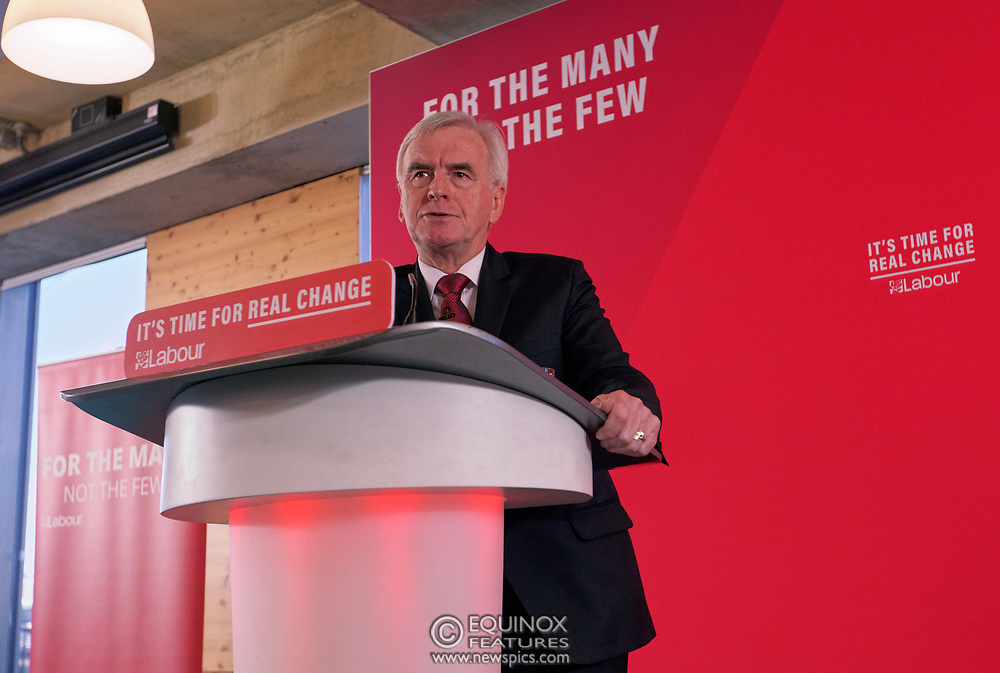 London, United Kingdom - 9 December 2019<br /> John McDonnell gives an economics speech in the run up to the general election 2019, on behalf of the Labour Party at Coin Street Community Builders, London, England, UK.<br /> (photo by: EQUINOXFEATURES.COM)<br /> Picture Data:<br /> Photographer: Equinox Features<br /> Copyright: ©2019 Equinox Licensing Ltd. +443700 780000<br /> Contact: Equinox Features<br /> Date Taken: 20191209<br /> Time Taken: 11324414<br /> www.newspics.com
