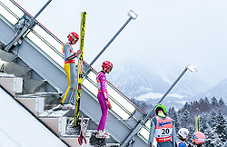 19.01.2018, Heini Klopfer Skiflugschanze, Oberstdorf, GER, FIS Skiflug Weltmeisterschaft, Einzelbewerb, im Bild Richard Freitag (GER), Vincent Descombes Sevoie (FRA) // Richard Freitag of Germany, Vincent Descombes Sevoie of France during individual competition of the FIS Ski Flying World Championships at the Heini-Klopfer Skiflying Hill in Oberstdorf, Germany on 2018/01/19. EXPA Pictures © 2018, PhotoCredit: EXPA/ JFK