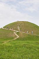School group descending the Krakus Mound in Podgorze Krakow Poland