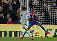 Football - 2017 / 2018 Premier League - Crystal Palace vs. Manchester United<br /> <br /> Jesse Lingard (Manchester United) strikes through the legs of Aaron Wan-Bissaka (Crystal Palace) at Selhurst Park.<br /> <br /> COLORSPORT/DANIEL BEARHAM