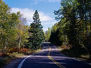 Minnesota Highway 1 winding through Superior National Forest, Minnesota.