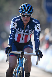 February 10, 2018 - Lille, BELGIUM - US Katie Compton crosses the finish line at the women's elite race of the Krawatencross cyclocross in Lille, the eighth and last stage in the DVV Verzekeringen Trofee Cyclocross competition, Saturday 10 February 2018. BELGA PHOTO DAVID STOCKMAN (Credit Image: © David Stockman/Belga via ZUMA Press)
