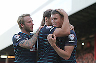 Derby County Chris Martin celebrates the opener during the Sky Bet Championship match between Brentford and Derby County at Griffin Park, London, England on 1 November 2014.