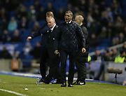 Brighton Manager, Chris Hughton and Leeds United manager, Steve Evansduring the Sky Bet Championship match between Brighton and Hove Albion and Leeds United at the American Express Community Stadium, Brighton and Hove, England on 29 February 2016.