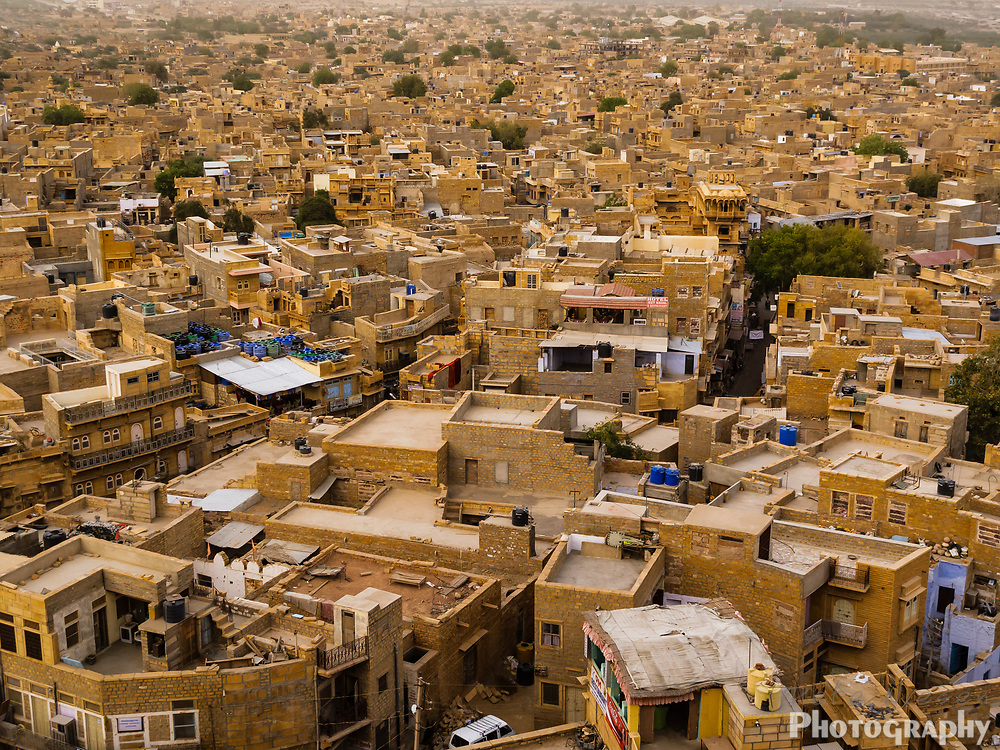 Aerial view of the Golden City Jaisalmer, the yellow sandstone buildings of Jaisalmer have given it the name The Golden City