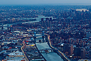 New York City: view of the East River from the Bronx into Manhattan.