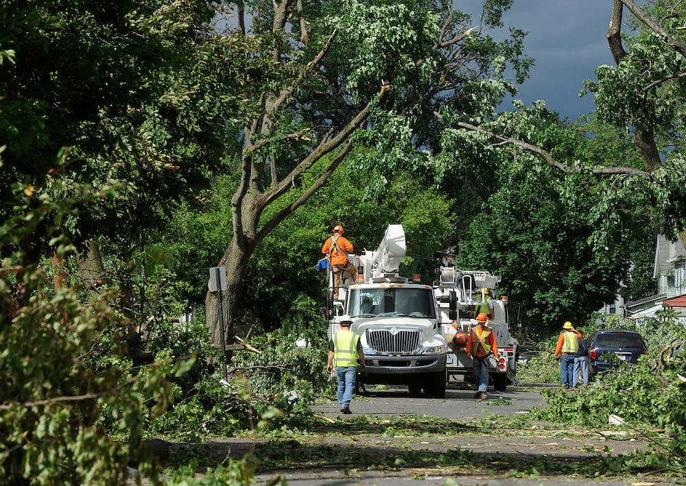 Storm damage from a tornado a day before in West Springfield, Mass., Thursday, June 2, 2011.  (AP Photo/Jessica Hill)