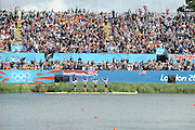 Eton Dorney, Windsor, Great Britain,..2012 London Olympic Regatta, Dorney Lake. Eton Rowing Centre, Berkshire.  Dorney Lake.   ..GBR LM4-.  Silver Medalist Peter CHAMBERS, Rob WILLIAMS, Richard CHAMBERS and Chris BARTLEY.  12:59:44   Thursday  02/08/2012   [Mandatory Credit: Peter Spurrier/Intersport Images]  .