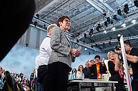 07 DEC 2018, HAMBURG/GERMANY:<br /> Annegret Kramp-Karrenbauer, CDU Generalsekretaerin und Kandidatin fuer das Amt der Parteivorsitzenden der CDU, nach Ihrer Bewerbungsrede, auf ihrem Platz in den Reihen der Delegierten aus dem Saarland, CDU Bundesparteitag, Messe Hamburg<br /> IMAGE: 20181207-01-133<br /> KEYWORDS: party congress