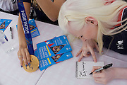 Partially-sighted skiing paralympian from the Sochi Olympics, Kelly Gallagher signs autographs at the National Paralympic Day, Stratford, London.