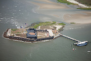 Aerial view of Fort Sumter in the harbor Charleston, SC. Ft Sumter is the site of the first shot fired in the US Civil War.
