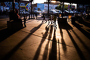 Children play under the sheds at Eastern Market before the Ford Fireworks in Detroit, Mich. on Monday, June 25, 2018. Credit: Cameron Pollack / Detroit Free Press