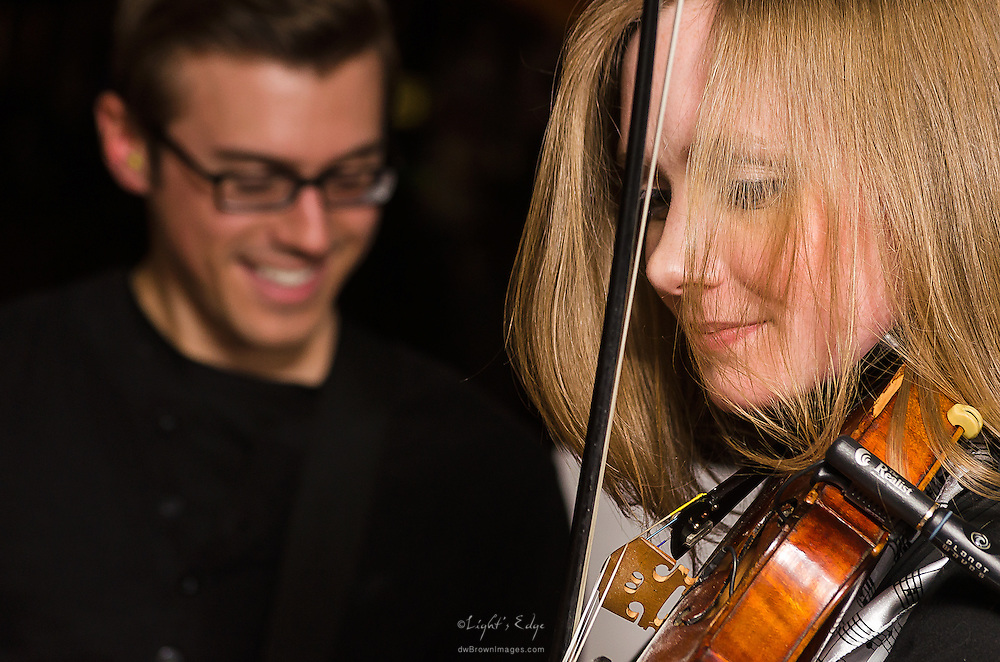 Julie Myers on violin and Ryan Kuhns on bass during Liv Devine's Birthday Celebration at The Bus Stop Music Cafe in Pitman, NJ.