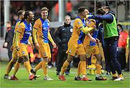 Greg Cunningham goal Celebration during the Sky Bet Championship match between Bristol City and Preston North End at Ashton Gate, Bristol, England on 12 January 2016. Photo by Daniel Youngs.