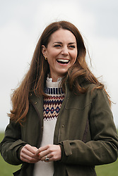 The Duchess of Cambridge laughs during a visit to Manor Farm in Little Stainton, Durham. Picture date: Tuesday April 27, 2021.