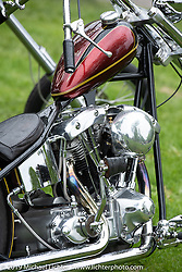 Saga MC's Hasse Dansk's Harley-Davidson Shovelhead chopper at the Twin Club's annual Custom Bike Show in Norrtälje, Sweden. Saturday, June 1, 2019. Photography ©2019 Michael Lichter.