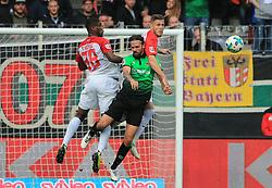 20171021, 1.BL FCA vs Hannover 96, WWK Arena Augsburg, Fussball, Sport, im Bild:..Kevin Danso (FC Augsburg), Martin Harnik (Hannover96) und Jeffrey Gouweleeuw (FC Augsburg)...*Copyright by:  Philippe Ruiz..Postbank Muenchen.IBAN: DE91 7001 0080 0622 5428 08..Oberbrunner Strasse 2.81475 MŸnchen, .Tel: 089 745 82 22, .Mobil: 0177 29 39 408..( MAIL:  philippe_ruiz@gmx.de ) ..Homepage: www.sportpressefoto-ruiz.de. (Credit Image: © Philippe Ruiz/Xinhua via ZUMA Wire)