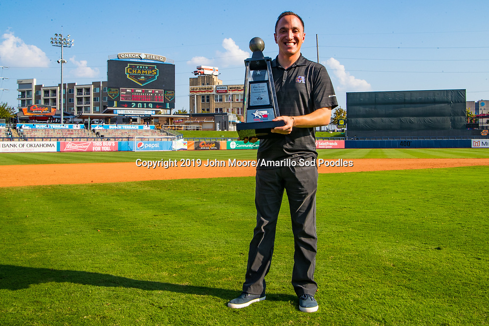 Sam Levitt poses with the trophy after the Sod Poodles won against the Tulsa Drillers during the Texas League Championship on Sunday, Sept. 15, 2019, at OneOK Field in Tulsa, Oklahoma. [Photo by John Moore/Amarillo Sod Poodles]