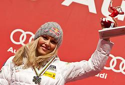 13.02.2011, Medal Placa, Garmisch Partenkirchen, GER, FIS Alpin Ski WM 2011, GAP, Damen, Abfahrt, Winners Presentation, im Bild zweite, silber Medaille, Lindsey Vonn (USA) // second, siver Medal Lindsey Vonn (USA) during Downhill Ladies Winners Presentation Fis Alpine Ski World Championships in Garmisch Partenkirchen, Germany on 13/2/2011. EXPA Pictures © 2011, PhotoCredit: EXPA/ J. Groder
