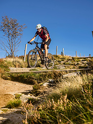 Mountain biker cycling on single trail on Ringelbuhlkopf, Alsace, France