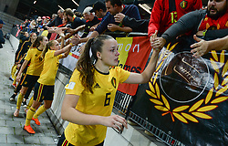 October 9, 2018 - Biel, SWITZERLAND - Belgium's Tine De Caigny thanking the fans after a soccer game between Switzerland and Belgium's national team the Red Flames, Tuesday 09 October 2018, in Biel, Switzerland, the return leg of the play-offs qualification games for the women's 2019 World Cup. BELGA PHOTO DAVID CATRY (Credit Image: © David Catry/Belga via ZUMA Press)