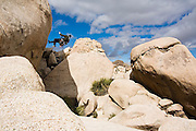 A climber rappels down a rock spire at the Hidden Valley campground in Joshua Tree National Park, California.