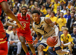 Feb 26, 2018; Morgantown, WV, USA; West Virginia Mountaineers guard Daxter Miles Jr. (4) drives baseline during the second half against the Texas Tech Red Raiders at WVU Coliseum. Mandatory Credit: Ben Queen-USA TODAY Sports