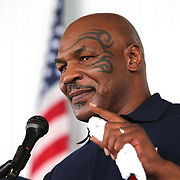 CANASTOTA, NY - JUNE 10:  Mike Tyson speaks during the parade of champions at the International Boxing Hall of Fame for the Weekend of Champions induction event on June 10, 2018 in Canastota, New York. (Photo by Alex Menendez/Getty Images) *** Local Caption *** Mike Tyson