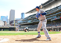 May 2, 2018 - Minneapolis, MN, U.S. - MINNEAPOLIS, MN - MAY 02: Toronto Blue Jays First base Justin Smoak (14) in the on-deck circle during a MLB game between the Minnesota Twins and Toronto Blue Jays on May 2, 2018 at Target Field in Minneapolis, MN.The Twins defeated the Blue Jays 4-0.(Photo by Nick Wosika/Icon Sportswire) (Credit Image: © Nick Wosika/Icon SMI via ZUMA Press)