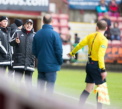 Ayr United's manager Ian McCall after Craig Moore booked for diving. <br /> Dunfermline 3 v 2 Ayr United, Scottish League One played at East End Park, 13/2/2016.