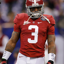 Jan 9, 2012; New Orleans, LA, USA; Alabama Crimson Tide running back Trent Richardson (3) warms-up before the 2012 BCS National Championship game against the LSU Tigers at the Mercedes-Benz Superdome.  Mandatory Credit: Derick E. Hingle-US PRESSWIRE