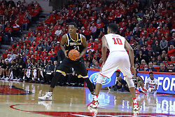 14 January 2017:  Darral Willis Jr. is held outside by Phil Fayne(10) during an NCAA  MVC (Missouri Valley conference) mens basketball game between the Wichita State Shockers the Illinois State Redbirds in  Redbird Arena, Normal IL