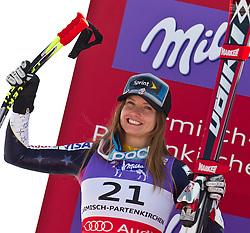 08.02.2011, Kandahar, Garmisch Partenkirchen, GER, FIS Alpin Ski WM 2011, GAP, Lady Super G, im Bild zweite Julia MANCUSO (USA) // Julia MANCUSO (USA) second Place during Women Super G, Fis Alpine Ski World Championships in Garmisch Partenkirchen, Germany on 8/2/2011, 2011, EXPA Pictures © 2011, PhotoCredit: EXPA/ J. Feichter